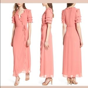 NEW $138 WAYF Coral Rose Ruffle Wrap Dress Gown